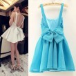 Sexy Halter Big Bow Sleeveless Puff Dress