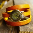 Retro three laps wrap crown dial leather watch