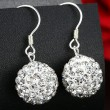 Purple White Shining Diamond Ball Silver Drop Earrings