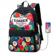 Leisure Flower Garden USB Floral Large College Canvas Backpack Student Bag