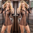 Sexy Flirt Perspective Mesh Open Shirt Long Sleeve Pajamas Women Lingerie