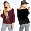 Leisure Hollow Lace Gear Hem Long Sleeve O-neck Solid Fashion Top