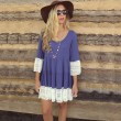 Sweet Lady Splice Lace O-neck Flare Sleeve Loose Layered Dress