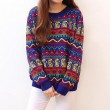 Retro Folk Style Geometry Zigzag Loose Sweater