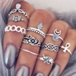 Retro Silver Plated Elephant Moon Crystal Joint Knuckle 10 Sets Ring