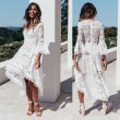 Sweet White Deep V Lace Irregular Hollow Middle Sleeves Lace Summer Dress