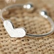 Romantic Love Heart Cute Bow Silver Simple Open Ring