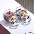 Cute Colorful Crystal Bubble Transparent Ball Earrings Studs