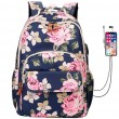 Leisure Rose School Bag Flower USB Large Capacity Laptop Bag Student Backpack