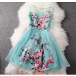 Handmade Embroidery Flower Organza Party Dress