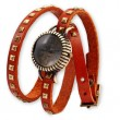 wrap retro leather strap quare rivets   bracelet watch