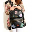 Punk Lovely Rivets Badge School Backpack