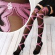 Sexy Printed Pink Bowknot Ribbon Silk Stockings