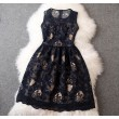 Noble Palace Printed Hand-beaded Embroidery  Lace Party Dress &Dress