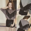 Autumn Fashion Loose Round-neck Tassel Star Long Dolman Sleeve Sweater
