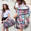 Leisure Flower Leaves Multi-function Shoulder Bag Travel Large Backpack Drum Outdoor Canvas Rucksack