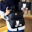 Lovely Cartoon Cat Printing Kitten Ride Bicycle College Backpack
