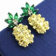 Unique Vivid Gemstones Pineapple Fruit Silver Women Earrings Studs