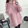 Turtle Neck Sweater Loose Twist Pattern Long Sleeve Coat Sweater