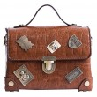 Retro PU Small Suitcase Crocodile Grain Metal Badges Flap Women Handbag Shoulder Bag