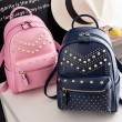 Punk Rivet Small Backpack School Bag PU Women Shopping Backpack