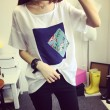 Fresh Leisure Floral Bird Pattern Patch Loose Splice Sleeves Round-neck T-shirt