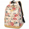 Sweet Girl's Canvas Large Travel Rucksack Rose Flowers Printing School Backpack