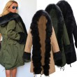 Star Love Hooded Jacket Long Winter Big Fur Collar Coat Windbreaker