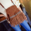 Original Embroidery Tassel Drawstring Corduroy Frosted Shoulder Bag Backpack