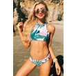 New Women's Ocean Palm Printing Bikini Set Sexy Swimsuit Suit Bathing Swimwear