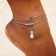 Casual Star Bead Chain Beach Gold Pineapple 3-layer Women's Anklet