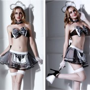 Sexy Maid Clothes Cosplay Maid Uniform Temptation Short Skirt Classical Bow Lace Hot Lingerie