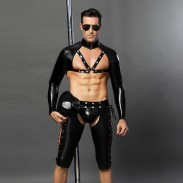 Sexy Gay Bar Performance Clothing Black Nightclub Temptation Leather Rivet Police Uniform Cosplay Men's Lingerie
