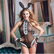 Sexy Black One-piece Uniform Neck Bow Bunny Girl Cosplay Nightclub Costume Conjoined Lingerie