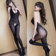 Sexy Teddy For Women Open Crotch Tights Stockings Bodysuit One Piece Lingerie Black Deep V Lace Bodystocking