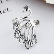 Vintage Peacock Shape Adjustable Ring Animal Ring Open Silver Braided Finger Ring