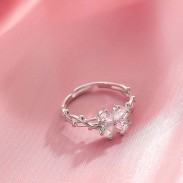 Unique Four-leaf Crystal Flowers Butterfly Thorns Entanglement Silver Open Ring
