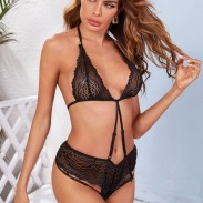 Sexy Cheap Black Lace Sling Conjoined Underwear Spicy Intimate Teen Girl Lingerie