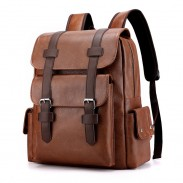 Retro School Bag College Soft PU Backpack Double Buckle Plus Size 15.6 Inch Laptop Backpack