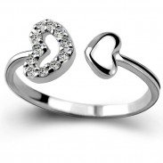 Romantic Silver Zircon Lover Ring Double Heart Couple Open Ring