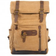 Vintage Splicing Cowhide Outdoor Canvas Backpack Large Laptop Thick Canvas Travel Rucksack