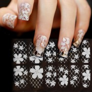 Fresh White Hollow Lace Flower Diamond Full Cover Nail Art Sticker Decals