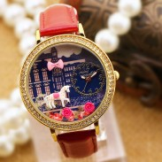 Lovely Horse Rose Cartoon Rhinestone Leather Lady Watch
