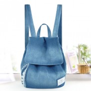 Fresh Green Bow Lace Denim Canvas Backpack