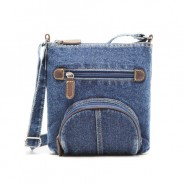 Western Leisure Style Denim Stars Pattern Front Circular Pocket Shoulder Bag 1b472f84adf44
