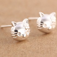 Sweet Cat Earpins Pure Silver Kitty Earrings Studs