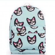 Light Blue Sweet Lovely Kitten Printing Canvas School Bag Satchel Backpack