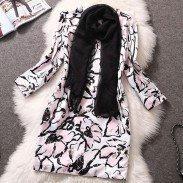 Large Flower Print With Scarves Slim Cut Dress