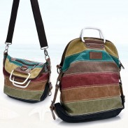 Retro School Multifunction Backpacks Shoulder Bag Handbag Splicing Colorful Striped Canvas Backpack