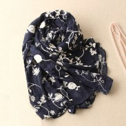 Super Quality Cotton Lace Embroidery Scarf